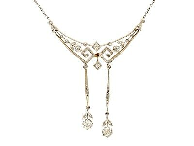 Antique 1.22ct Diamond and 18ct Yellow Gold Platinum Set Necklace