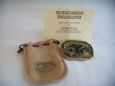 Mississippi Hand Cast Brass Belt Buckle Heritage Mint Paper & Pouch Reg Numbered