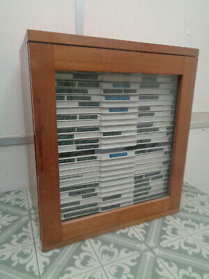 Vintage wooden microscope prepared slide cabinet with slides SO4MP7WQ