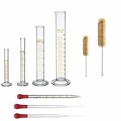 Thick Glass Graduated Measuring Cylinder Set 5ml 10ml 50ml 100ml Glass & Brushes
