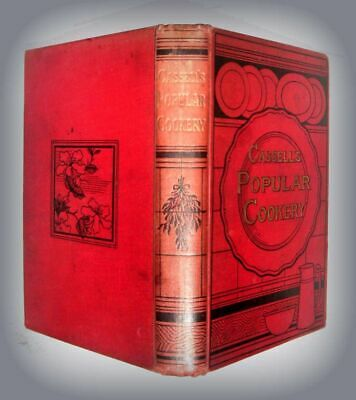 1890 Antique Cookbook CASSELL'S POPULAR COOKERY Color Plates Victorian Recipe FE
