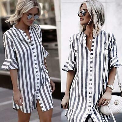 Women Stand Collar Short Sleeve Striped Shirt Solid Pattern Blouse Tops C