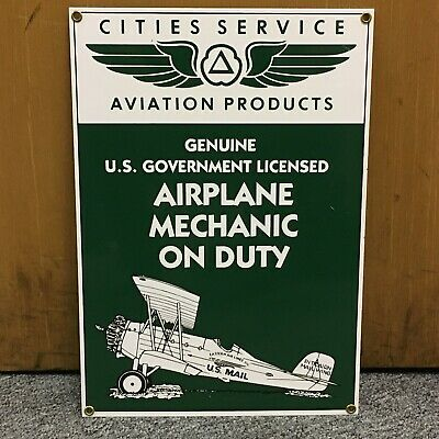 Ande Rooney Cities Service Products Airplane Mechanic Porcelain Sign