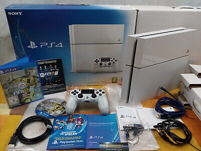 PS4 Playstation 4 500GB Weiss +Zubehörpaket:DualShock 4 Controller + Fifa + OVP