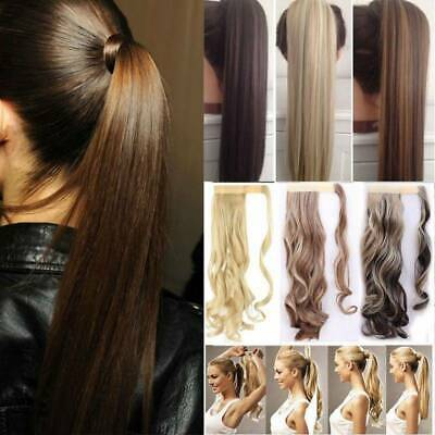 Extra Natural Long Ponytail Thick Wrap Clip on in Wavy Pony Tail Hair Extensions