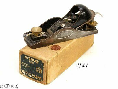 good used shape w box STANLEY TOOLS 9 1/2 block plane label woodworking