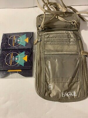 Bagail Beige Neck Wallet Travel Pouch with RFID Blocking +7 Extra compartments
