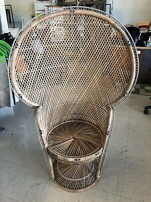 Incredible Vintage Peacock Chair Wicker High Back Fan Rattan Mid Gmtry Best Dining Table And Chair Ideas Images Gmtryco