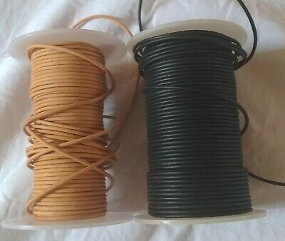Round Leather Cord Lace Strip Thong, 3mm or 2mm, Natural, By Metre or Reel