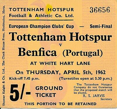 TICKET: Tottenham v Benfica (European Cup Semi Final) 1962