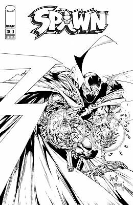 Spawn #300 Comic Book [Greg Capullo, Todd McFarlane B&W Variant Cover F]