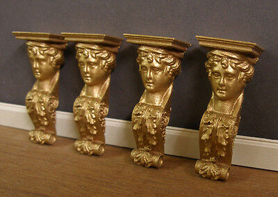 CORBELS~  1:12 scale ~Dollhouse Mini ~ Gold ~ Room Box 6  CARVED   BRACKETS