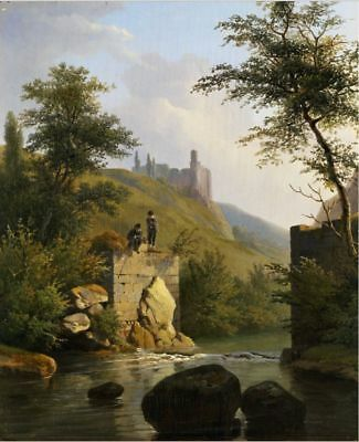 "oil painting on canvas ""a River Landscape with a Castle and Figures ""@N10968"