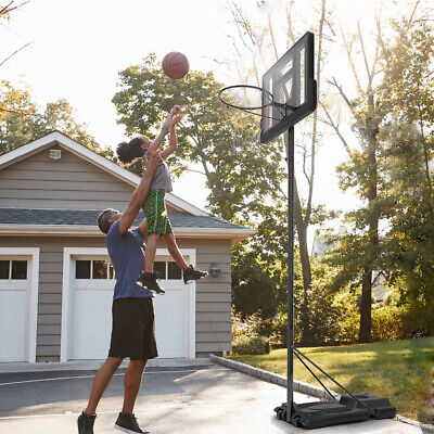 Adjustable Height Portable Basketball Stand Hoop Net Backboard System w/ Wheels
