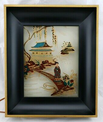Vintage Oriental Lighted Shadowbox Reverse Paint on Glass By Formed Products NY
