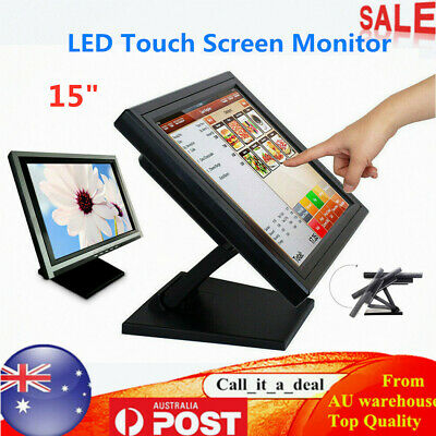"""15"""" Touch Screen Monitor LED LCD Display High Resolution VGA for POS Windows AU"""