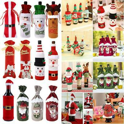 Christmas Wine Bottle Cover Bag Santa Claus Xmas Tree Dinner Table Decoration