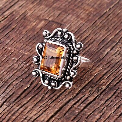 925 Sterling Silver Natural Citrine Rough Ring Size 5 6 7 8 9 10 11 Pm548