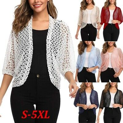 Spring Women's Fashion Cardigan Shirt 3/4 Sleeve Shrug Lace Floral Crochet Tops