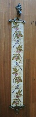 Vintage Danish Hand Worked Tapestry Cross Stitch Bell Pull Wall Hanging Birds