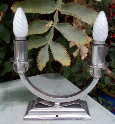 Stylish French Art Deco Chrome Double Candle Sconce Table Lamp to Rewire