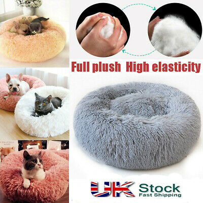 Pet Dog Cat Calming Bed Warm Soft Plush Round Cute Nest Comfortable Sleeping! UK