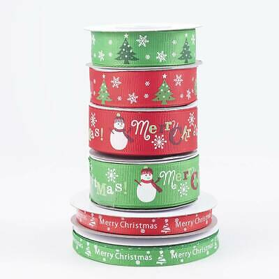 MERRY CHRISTMAS grosgrain ribbon by the Metre - RED WHITE GOLD SILVER - 2-20M