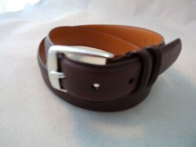 """#8390 BROWN W//WHITE STITCHING 1.25/"""" WIDE LEATHER BELT FOR MEN IN SIZES 2 FIT ALL"""