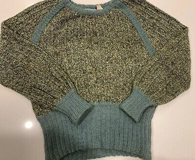 Vintage Daily Blue L Ladies Knit Wool Silk Blend Cable Green Trim Sweater
