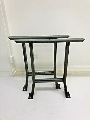 Vintage Steel Bench Ends Table Base Legs Pair Metal