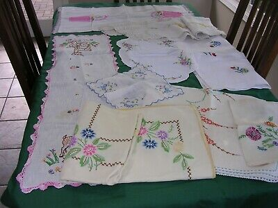 #AK  9 Vintage 40's EMBROIDERY COTTAGE CHIC TABLECLOTHS,RUNNERS ,DOILY  LOT