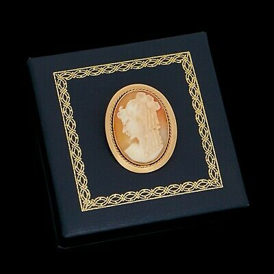 Antique Vintage Deco Retro 9k 10k Gold English Carved Conch Shell Cameo Brooch
