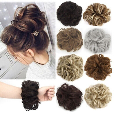 Women Curly Messy Hair Piece Scrunchie Real Human Look Hair Extensions Bun Gift