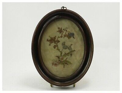 Antique 19th century sewing embroidery tapestry picture dog & tree