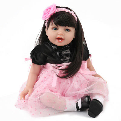 "Lifelike Reborn Baby Doll Girl  22"" Soft Vinyl Real Life Newborn Dolls Xmas Gift"