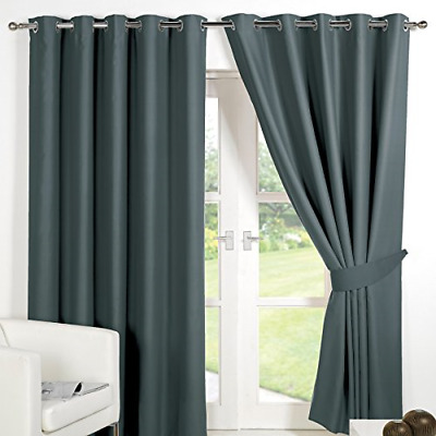 Dreamscene Eyelet Blackout Curtains Set of 2 Thermal Ring Top Window Treatment -
