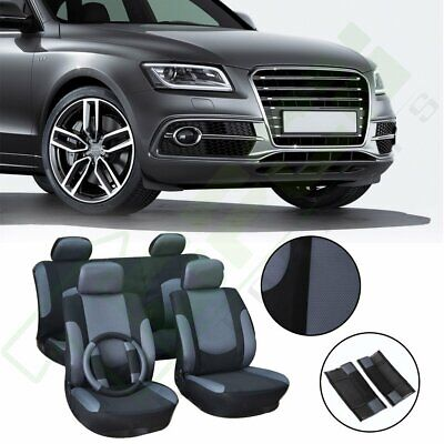 Gray washable Car Seat Covers W/steering wheel cover Durable lot of 11