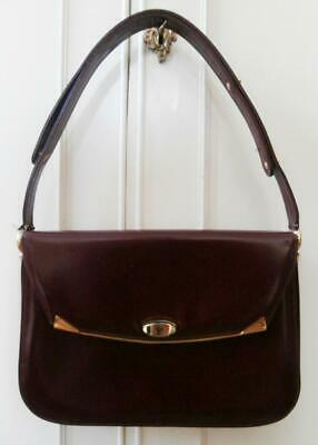 Vintage 1960's Top Quality Burgundy Leather Hand Shoulder Bag by Mappin & Webb