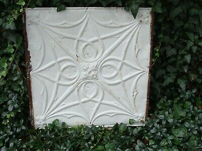 Large 24 x 24 inch White Victorian Antique Ceiling Tin Tile Salvage Architecture