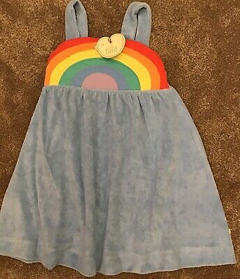 🌈 Little bird By Jools Oliver girls Age 3-4 Years Blue Rainbow Towelling dress