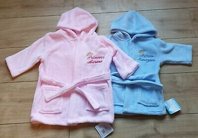 Babys / Kids..girls /Boys Personalised Dressing Gown Pink / White/ Blue