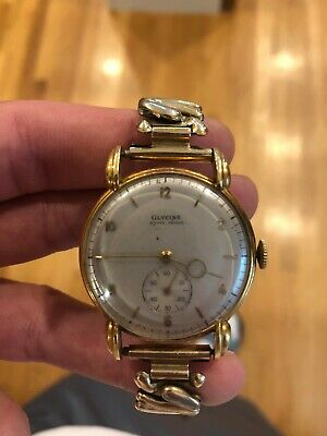 Glycine Bienne - Geneve 18k solid gold antique watch runs great!