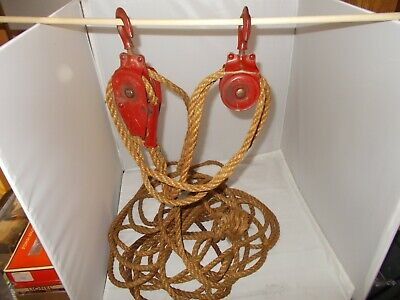 ANTIQUE VINTAGE Block And Tackle Rope