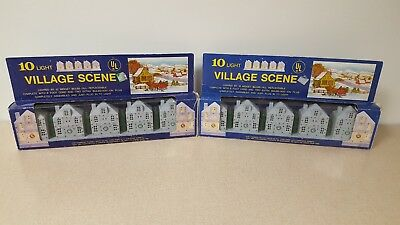 2 Sets Vtg Yuletide Concepts Christmas Village House Lights New In Boxes