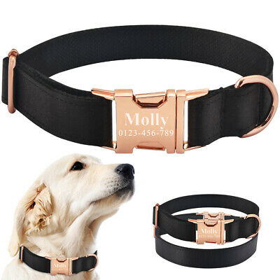 Personalized Dog Collar With Tag Custom Engraved Pet Puppy Dog Name Black Fabric