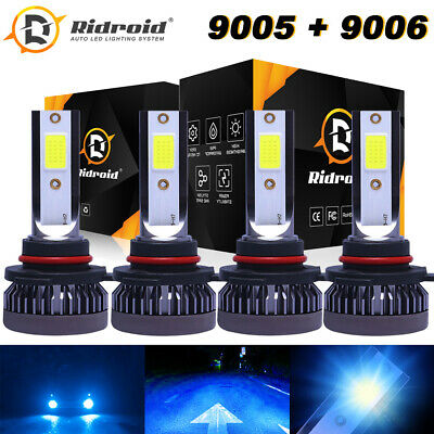 9005+9006 LED Combo Mini Headlights Bulbs Kit High Low Beam 8000K Ice Blue 160W