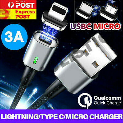 Magnetic Type C Cable/Micro/Lightning Data Sync 3A Fast Charger USB For iPhone