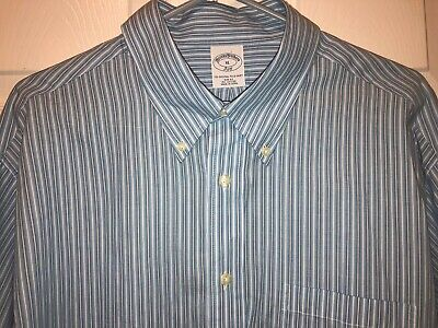 Brooks Brothers Mens Blue Striped Button Down Shirt Sz Slim Fit XL NEW $60 TAG