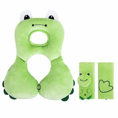 Baby Head Neck Support Soft Headrest Pillow and Safety Seat Belt Strap Covers