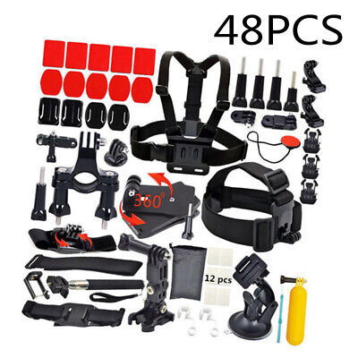 48 Lot Of Accessories Kit For GoPro Hero 7/ 6 5 4 3 2 1 Camera Head Chest Strap